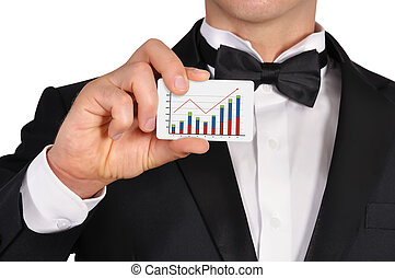 visiting card with chart - businessman holding visiting card...