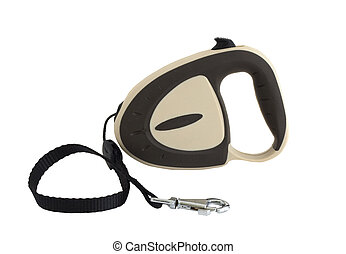 Dog leash - Extending retractable dog leash isolated on...