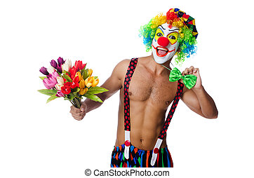 Clown with flowers on white