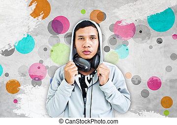 Teenager With Art Grunge Background