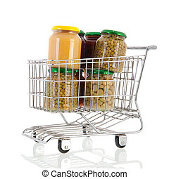 Shopping cart with pots canned vegetables