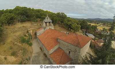 Romanic Church - Aerial view of romanic church in Pobladura...