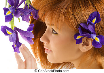 red hair violet flower - beauty portrait of cute redhead...
