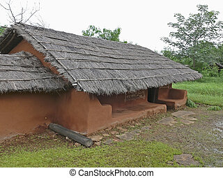 Saoras tribals house, Orissa, Andhra pradesh, India