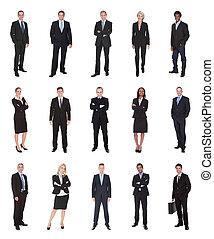 Business people, managers, executives. Isolated on white...
