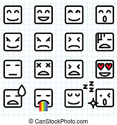 Square Face Emoticons - Illustration of a set of square face...