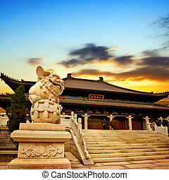 Chinese temple sunset