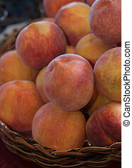 Fresh Peaches From the Orchard in a Basket - Fresh Peaches...