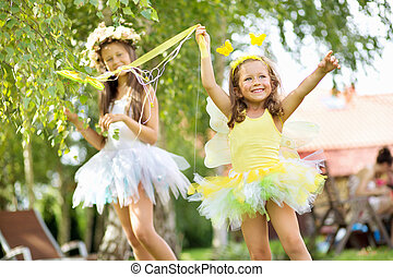 lindo,  ballet, bailarines, dos, joven, hermanas
