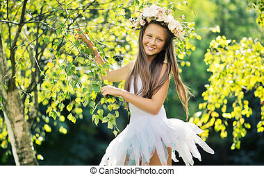 Young girl wearing nice flower hat - Young ladyl wearing...