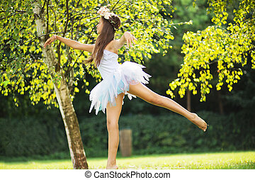 Picture presenting cute dancing young nymph - Picture...