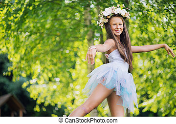 multa, foto, joven, niña, Llevando, flores