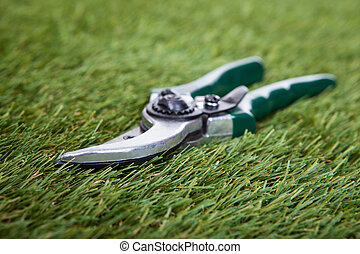Pliers Gardening Tool On Green Grass - Close-up Of Pliers...