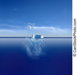 Iceberg - An iceberg above and below on its journey in the...