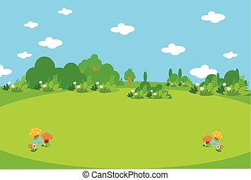 Beautiful green meadow with mushrooms