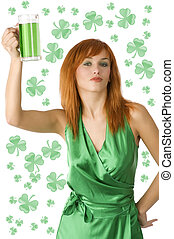 saint patrick red hair - cute redhead girl posing in green...