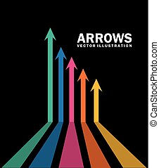 arrows infographics over black background vector...