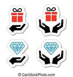 Hands with present and diamond icon - Vector labels set...