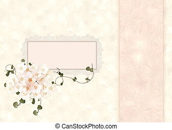 lacy frame with floral bouquet