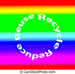 Colorful ecological phrases - reduce-reuse-recycle -...