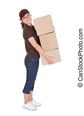 Woman Holding Stack Of Card boxes on white background