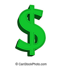 Sign of dollar - 3d dollar icon on white background