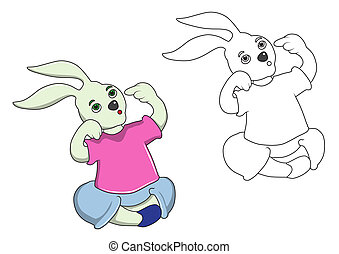 Cartoon Rabbit and stripes are thinking. On a white background