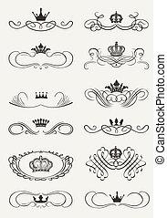 Vitoriano, scrolls, coroa, decorativo, divisores, vindima