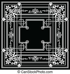 Ornate Vintage One Color Quad Background