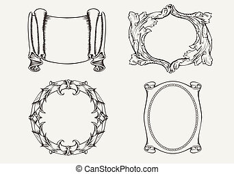 Set Of Four Ancient Banners And Frames