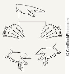 Set Of Hands Vector Drawing