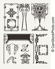 Set Of Vintag Art Deco Design Elements
