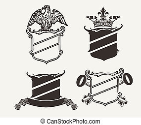 Set Of Four Shield Heraldry Compositions