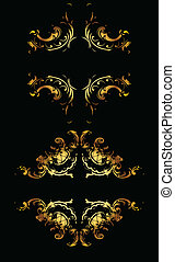 Ornate Gold Curves On Black