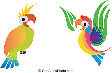 Parrots - Stylized parrots, vector illustration