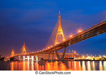 Bhumibol Mega Bridge Industrial Ring Mega Bridge at night,...