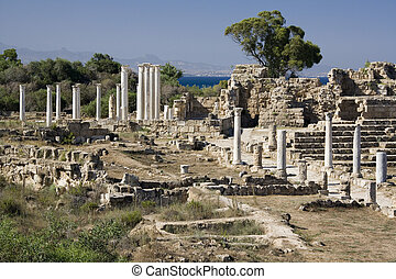 Ruins of Salamis in Northern (Turkish) Cyprus - The Ruins of...