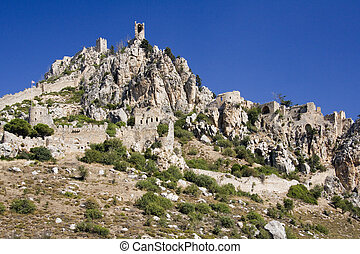 Ruins of St. Hilarion Castle in The Turkish Republic of...