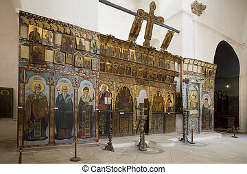 Greek Orthodox religious icons in the Monastery of St....