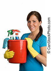 cleaning woman with cleanser