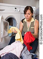washday - a young woman has wash-day