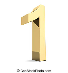 Golden number 1 - Collection of golden numbers on a white...