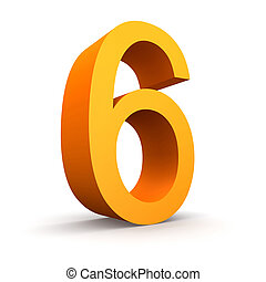 number 6 - Collection of orange numbers on a white...