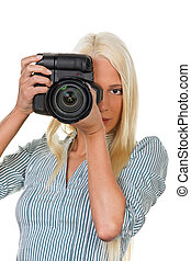 Young girls with a digital camera