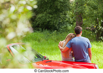 Loving couple admiring nature while leaning on their...