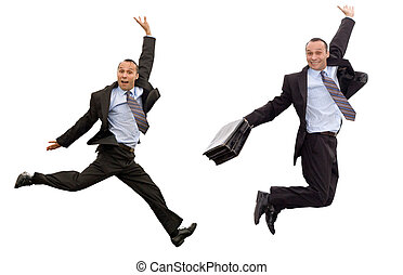 businessman victorious leap - smiling dynamic businessman...