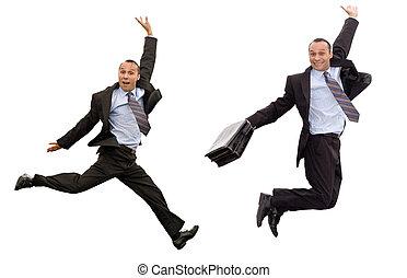 businessman victorious leap - smiling dynamic businessman...