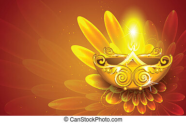 Happy Diwali - illustration of illustration of decorated...