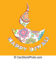Happy Diwali - illustration of colorful diya for Happy...