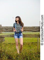 Portrait of pretty cowgirl - Portrait of pretty brunette...